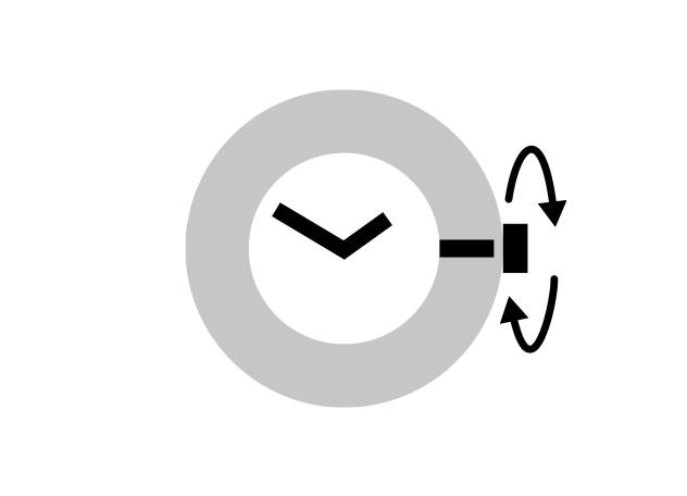 Manueller Aufzug (gegen den Uhrzeigersinn)