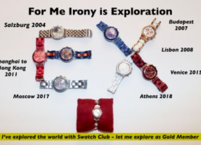 Irony means exploration to me some of my irony watches are displayed as large EX.  I have traveled the world with Swatch Club this image represents my experience as an explorer with Swatch Club.